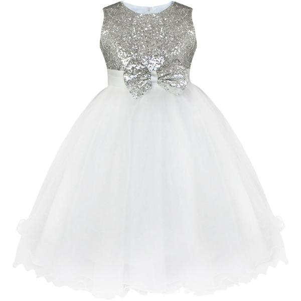 Детское платье до колена с блестками и цветочным узором для девочек возрастом от 2 до 14 лет Детские Вечерние платья на свадьбу, бальное платье, платье принцессы на выпускной, торжественное платье для девочек - Цвет: Silver