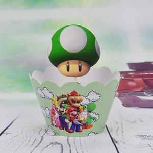 Image 2 - 12set Tema de Súper Mario Decoración de Pastel de fiesta Baby Cupcake para la ducha envoltorios eventos de feliz cumpleaños adornos para la parte superior de una tarta de fiesta