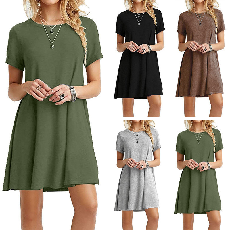 Women One-pieces Dress Solid Color Short Sleeves Oversize Casual Dress For Summer NFE99