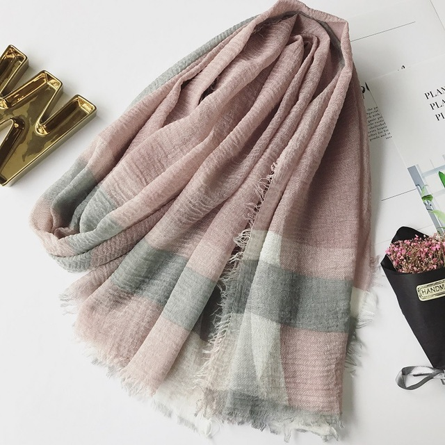 d68348bf432 England big checkered silk cotton scarf shawl autumn warm thick scarves  Retro tassel elegant female Women s Muslim headscarf