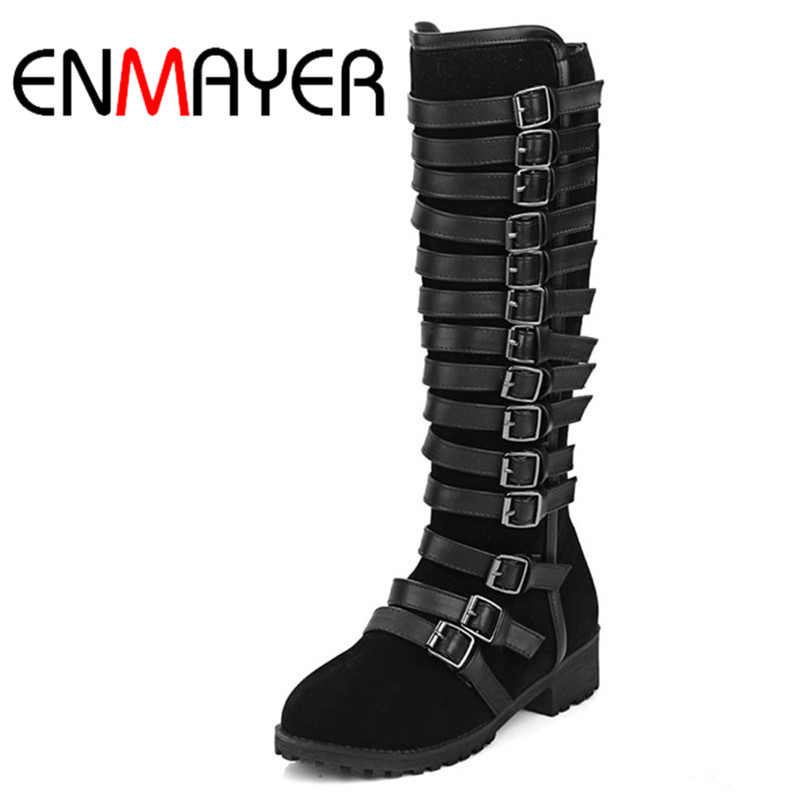 ENMAYER Fashion Style Zip Shoes Woman Motorcycle Boots Flats Shoes Knee-High Boots Round Toe Shoes For Women Large Size 34-46 enmayer green vintage knight boots for women new big size round toe flock knee high boots square heel fashion winter motorcycle