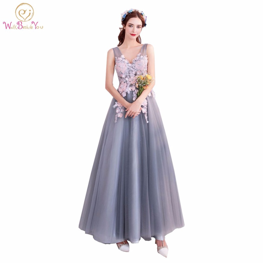 Walk Beside You Gray Bridesmaid Dresses with Pink Lace Applique ...