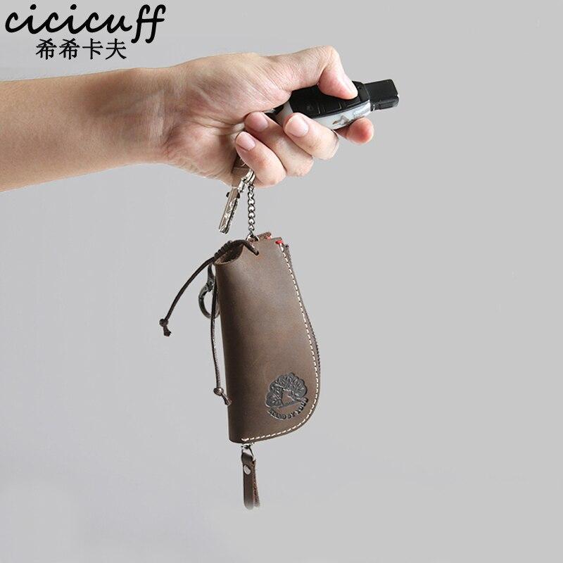 Кошелек для ключей CICICUFF, из натуральной кожи, винтажный, унисекс, модный органайзер для ключей, сумка для ключей для автомобиля, ключница, су...