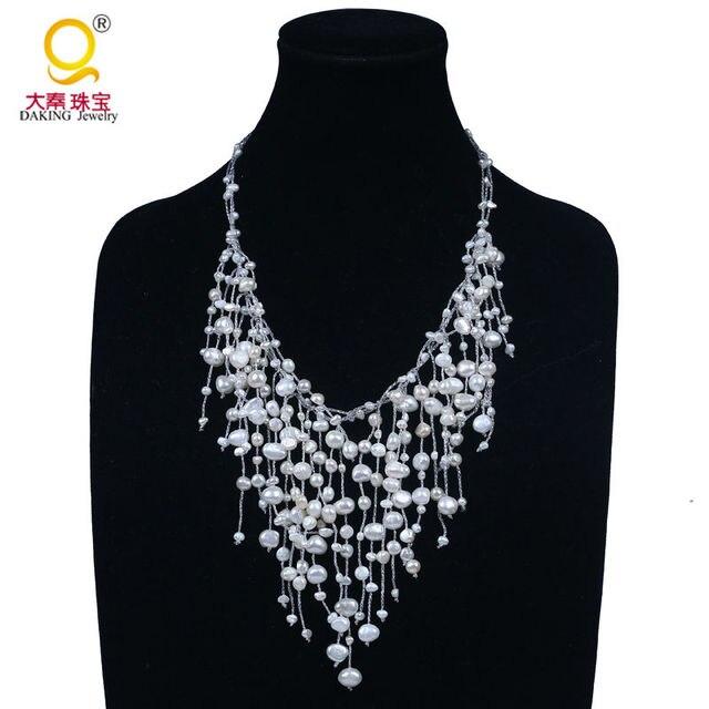 Moda elegante collar de perlas de agua dulce genuino galaxy cielo estrellado collar cascada colgante collar collar de la boda