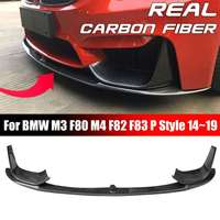 Carbon Fiber Car Front Bumper Lip Chin Spoiler With Removable Side Splitter For BMW M3 F80 M4 F82 F83 P Style 14~19