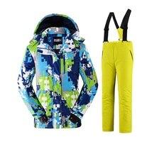 Русская зима мальчиков зимний комбинезон 2 шт. водонепроницаемый для маленьких девочек лыжные костюмы ветрозащитные платье детские лыжи сн