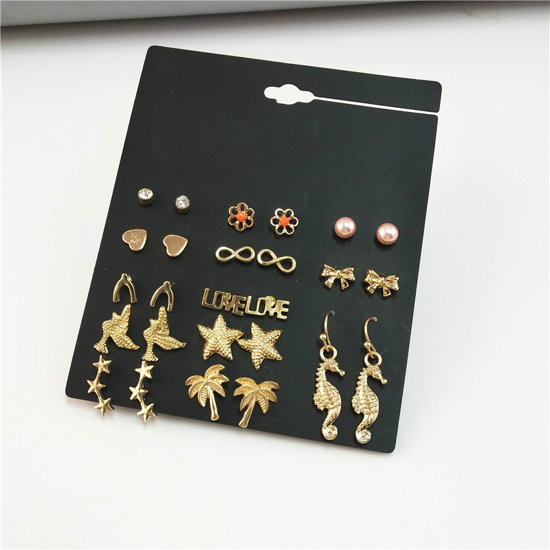 13 Pairs Fashion Stud Earring Set for Women Sea Horse Starfish Coconut Tree Infinity Bowknot Ear Studs Wholesale Brincos 2018