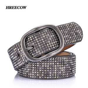 Image 1 - New arrival rivet belts high quality designer women belts brand waist belt for women casual pin buckle female belts Strap