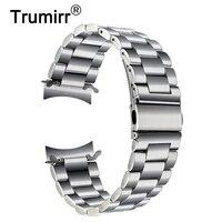 قسط الفولاذ الصلب watchband لسامسونج جير s3 الكلاسيكية الحدودي الذكية المعصم حزام ربط سوار الفضة السوداء
