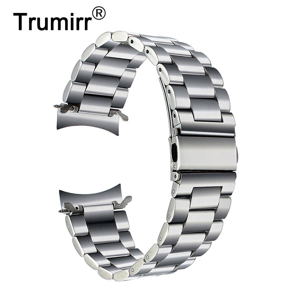De acero inoxidable de alta calidad de la venda de reloj para Samsung Gear S3 clásico frontera inteligente reloj de la correa de muñeca de enlace pulsera de plata negro