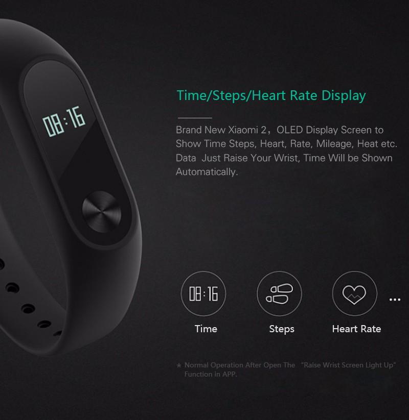 Oryginalny xiaomi mi kompania 2 miband bransoletka wistband inteligentnego tętno fitness ekran oled wyświetlacz dla iphone 7 touchpad bluetooth 16