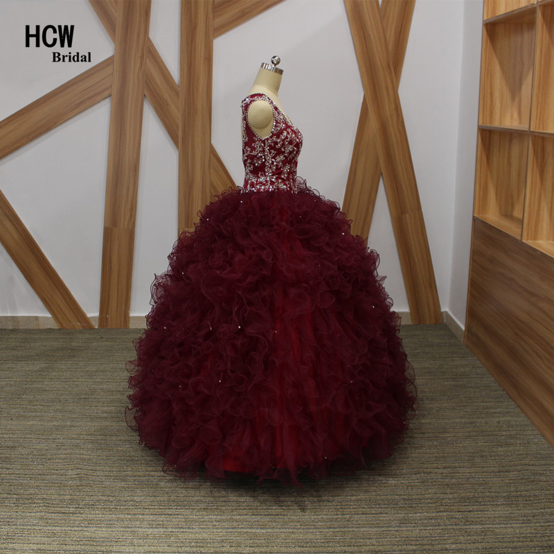 2019. aasta uus Burgundia Quinceanera kleit V-kaelusega varrukateta - Eriürituste kleidid - Foto 3