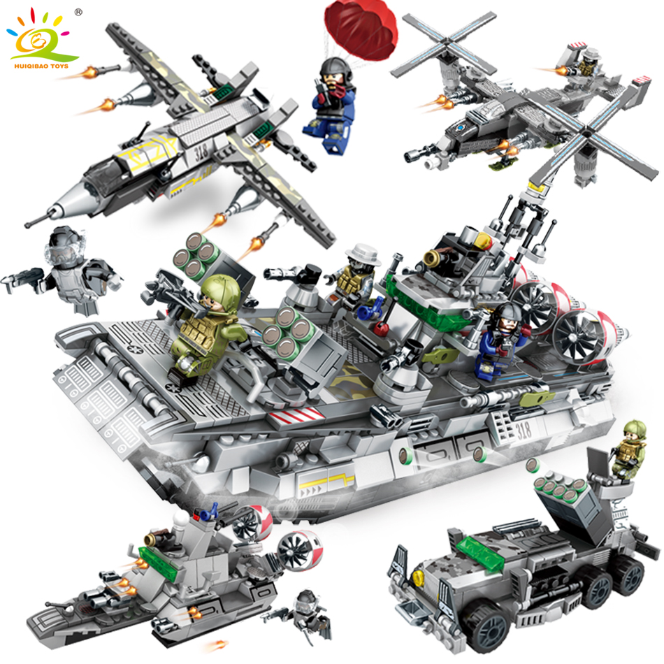 701pcs 4in1 Army Sea Fleet DIY Fighter Tank Building Blocks Bricks Compatible Legoed Military Helicopter soldier Toy For Kids 2017 wholesale new army block educational military war block kids tank helicopter model building blocks toy best gift for kids