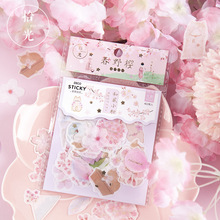 1pack Spring Wild Cherry Series Sticker Bag Creative Japanese Style Decoration Bronzing Washi Paper Stickers  for Journal