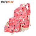 Royadong 2017 mujeres mochila escolar lienzo conjunto triángulo impresión linda bolsa de la escuela para las niñas adolescentes