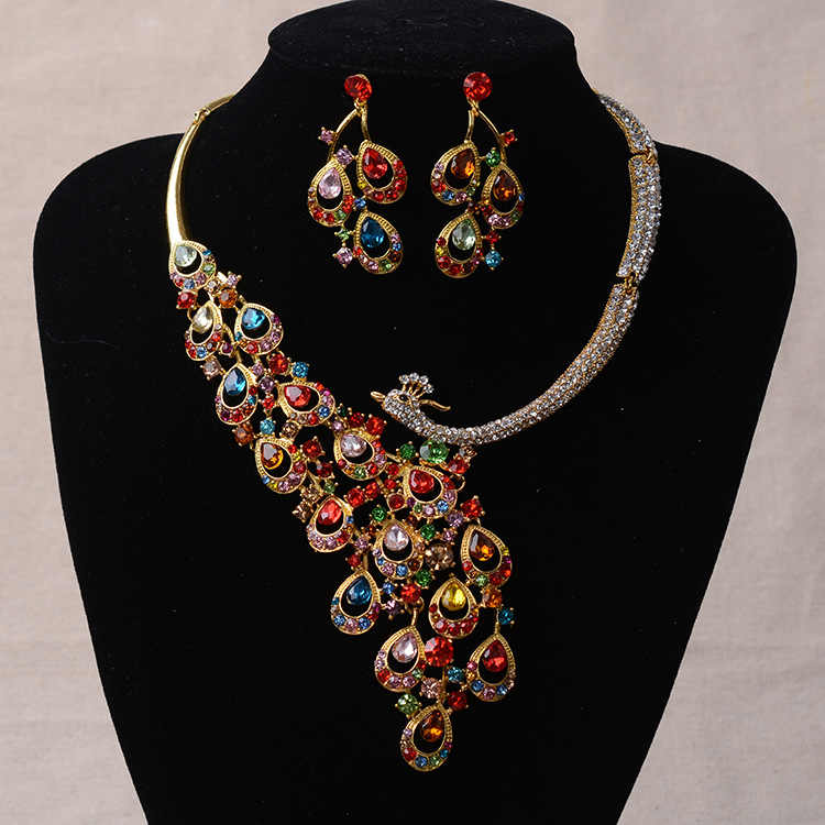 Luxury Gold Color Rhinestone Peacock Bridal Jewelry Sets Silver Crystal Statement Necklace Earrings Sets Wedding Jewelry Set