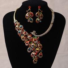 Luxury Gold Color Rhinestone Peacock Bridal Jewelry