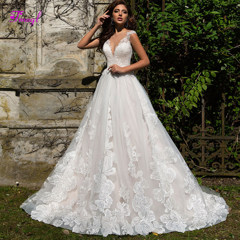 Fmogl Graceful Appliques Sweep Train A-Line Wedding Dress 2020 Sexy Scoop Neck Button Lace Princess Bridal Gown Vestido De Noiva