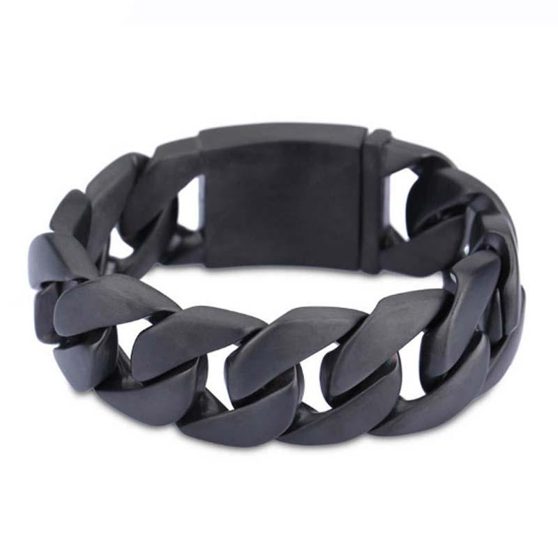 Acier inoxydable Bracelet lien chaîne noir Bracelet mâle bijoux 7.87 in pour hommes mode tissu accessoires