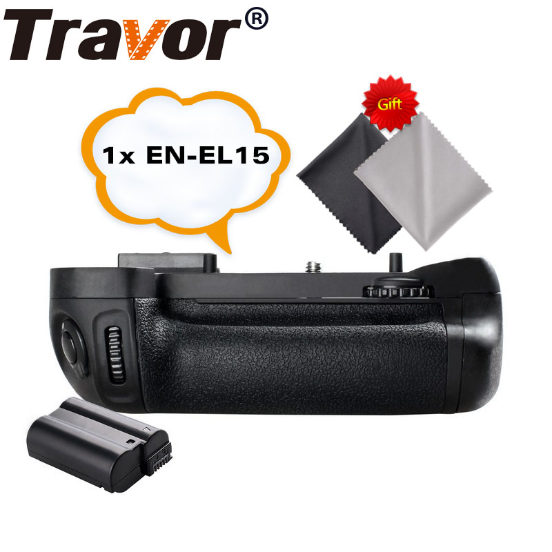 Travor Battery Grip Holder for NIKON D7100 D7200 DSLR Camera Replacement MB D15+1pcs EN EL15 Li ion Battery+2pcs Lens Cloth