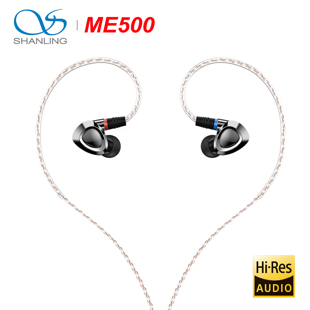 SHANLING ME500 HiFi Audio Triple Hybrid Driver(1DD+2 Knowles BA) Earphone IEM Brass metal shell with Detachable MMCX cable