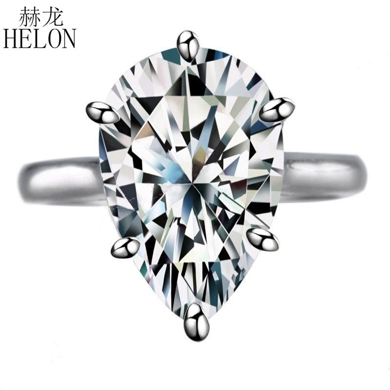 HELON 925 Sterling Silver Flawless 10.2ct AAA Graded Cubic Zirconia Engagement Wedding Ring Women Wedding Romantic Party Jewelry