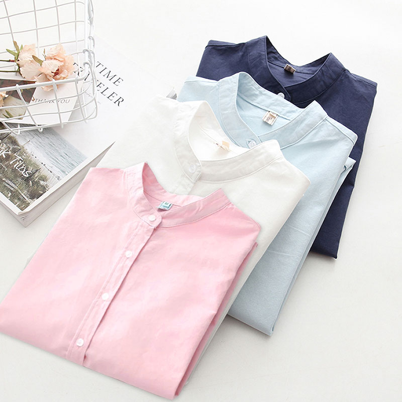 Ih Women Long Sleeve Cotton Solid Casual Blouse Elegant Office Ladies Work Shirts 2019 New Spring Autumn Loose Top Plus Size