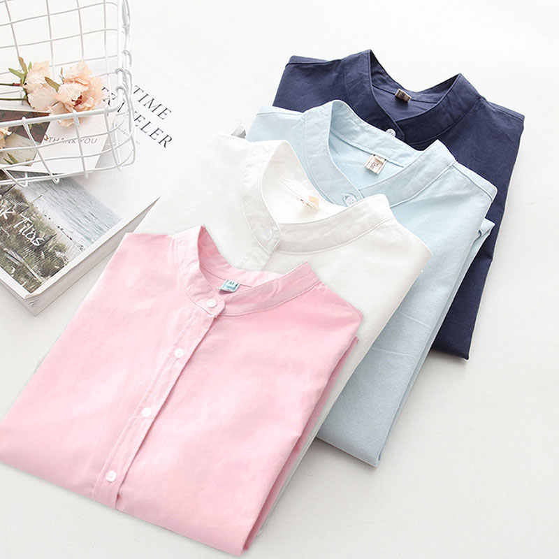 a8213236ad59 ih Women Long Sleeve Cotton Solid Casual Blouse Elegant Office Ladies Work  Shirts 2019 New Spring