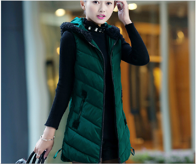 2016 Winter New Fashion Women Vest Elegant Hooded Thick Warm Cotton Vest Slim Big yards Street fashion Leisure Vest CCoat G2228