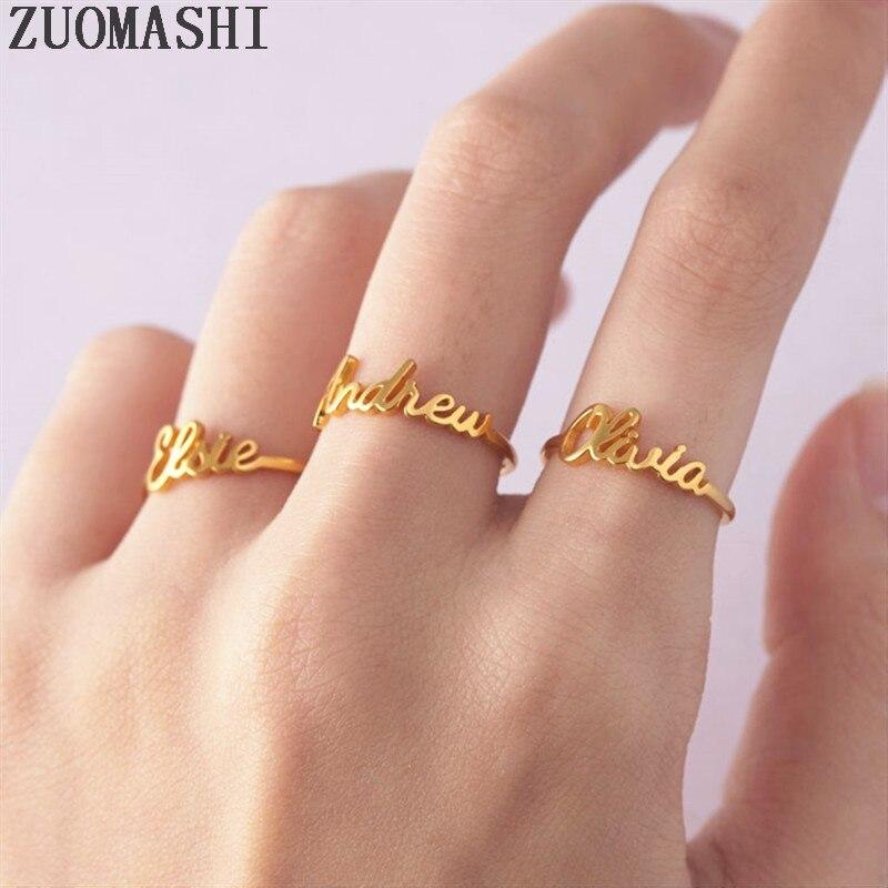 Изящное обычай имя кольцо штабелируемые имя кольца персонализированные минимальное Имя Ювелирные изделия пользовательское слово кольца для пары детей имя ребенка|Кольца|   | АлиЭкспресс