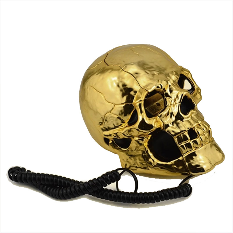 New Golden Color Unique Skull Head Skeleton Shaped Flashing Eyes Corded Land Line Home Office Desk Telephone Table Decoration