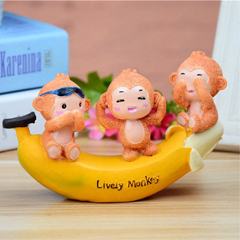 1 Pcs Lovely Cartoon Banana Lively Monkey Resin Figurines Ornaments Home Decoration Accessories Crafts Kids Gift