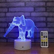 Слон 3D ночник креативный 3 D лампа визуальное освещение для украшения комнаты рождественский подарок, новинка для малышей