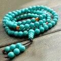 Pulseiras de Turquesa Natural 6mm 108 Contas de Oração Mala Budista Jóias Para O Homem e As Mulheres