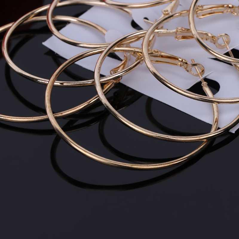 6 cái/bộ Vàng Bạc Vintage Tòn Ten Vòng Vòng Tròn Lớn Bông Tai Nữ Trang Sức Phong Cách Khoa Học Viễn Tưởng đôi khuyên tai Vòng tai cilp MỚI 2019