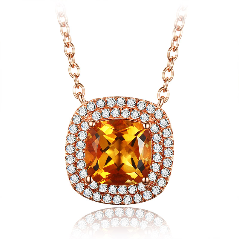 925 Silver Pendants Necklace for Women 18K Rose Gold Plated Accessories for Women Square Yellow Crystal Pendant Necklace yoursfs elegant union of hearts shape 18k rose gold plated use crystal rhinestone heart pendant necklace perfect gift for women