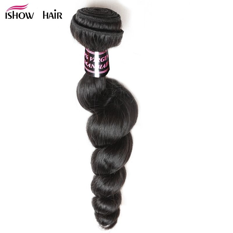 Ishow Malaysian Loose Wave Hair Bundles 1 Piece 100% Human Hair Weave Non-Remy Hair Natural Color Can Be Dyed Hair Extensions