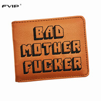 FVIP Cool Brown Purse Bad Mother F Cker Wallet With Card Holder Men S Wallets Bolsos