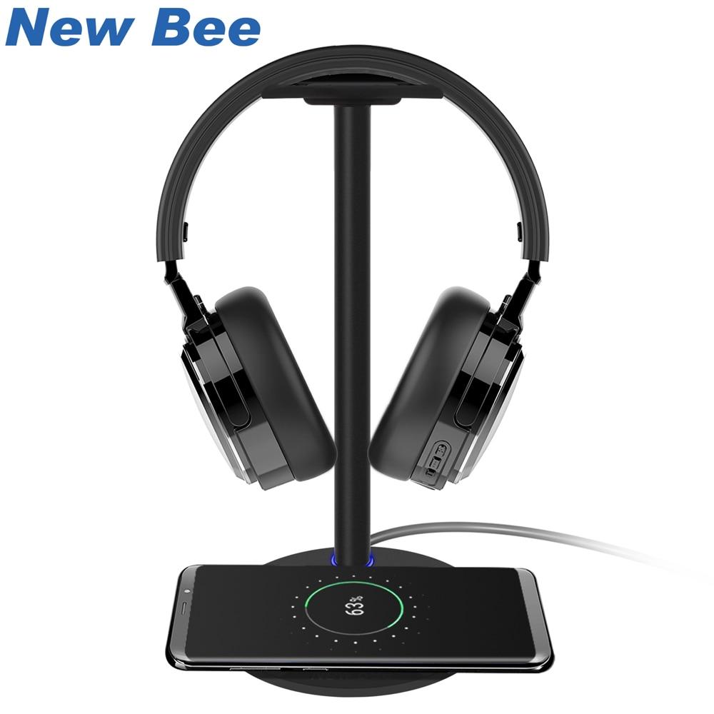 New Bee Drahtlose Lade Headset Stand Kopfhörer Halter Mode Aluminium Stehen Für Samsung Galaxy S7/S7Edge/S6/ s6Edge HTC Schwarz