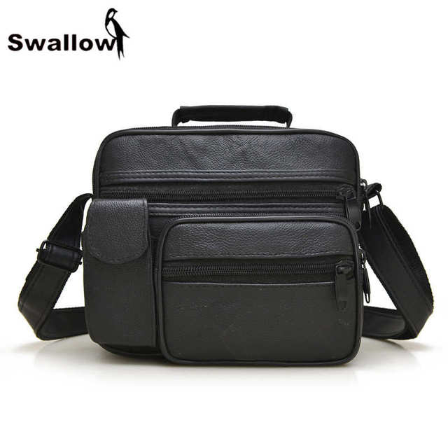 SWALLOW Genuine Leather Men's Crossbody Bags With Pocket Small Men Messenger Bags Genuine Leather Famous Brand Male Shoulder Bag