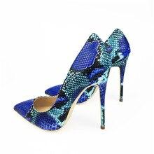 Women Shoes Brand CRAYLORVANS Blue Snake