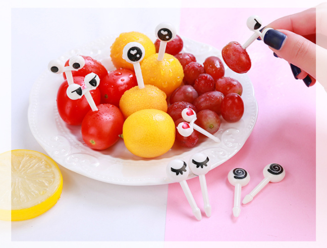 10pcs//pack mignon Yeux Fruit Fork Plastique Enfants à bento-Vendeur Britannique