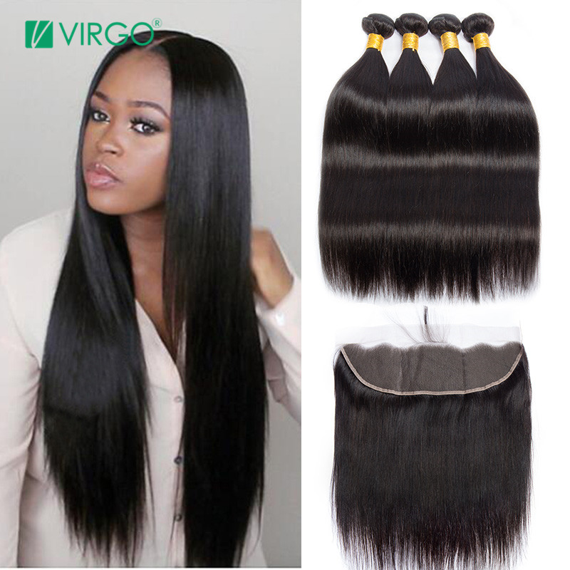3/4 Bundles With Closure Brazilian Straight Hair Bundles With Lace Closure Brazilian Hair 3 Bundles Deal With 4x4 Closures Non-remy Human Hair Weave With The Best Service