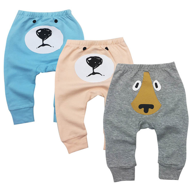 Baby Boy Girl Bear Pants Fashion Lattice Pants Cotton Baby Girls Harem Pants For Baby Casual newborn Trousers Boys Girl Clothes