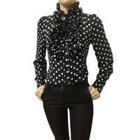 New 2016 Hot Fashion Vintage Chiffon Polka Dots Women S Body Blouse Tops Shirt Stand Collar