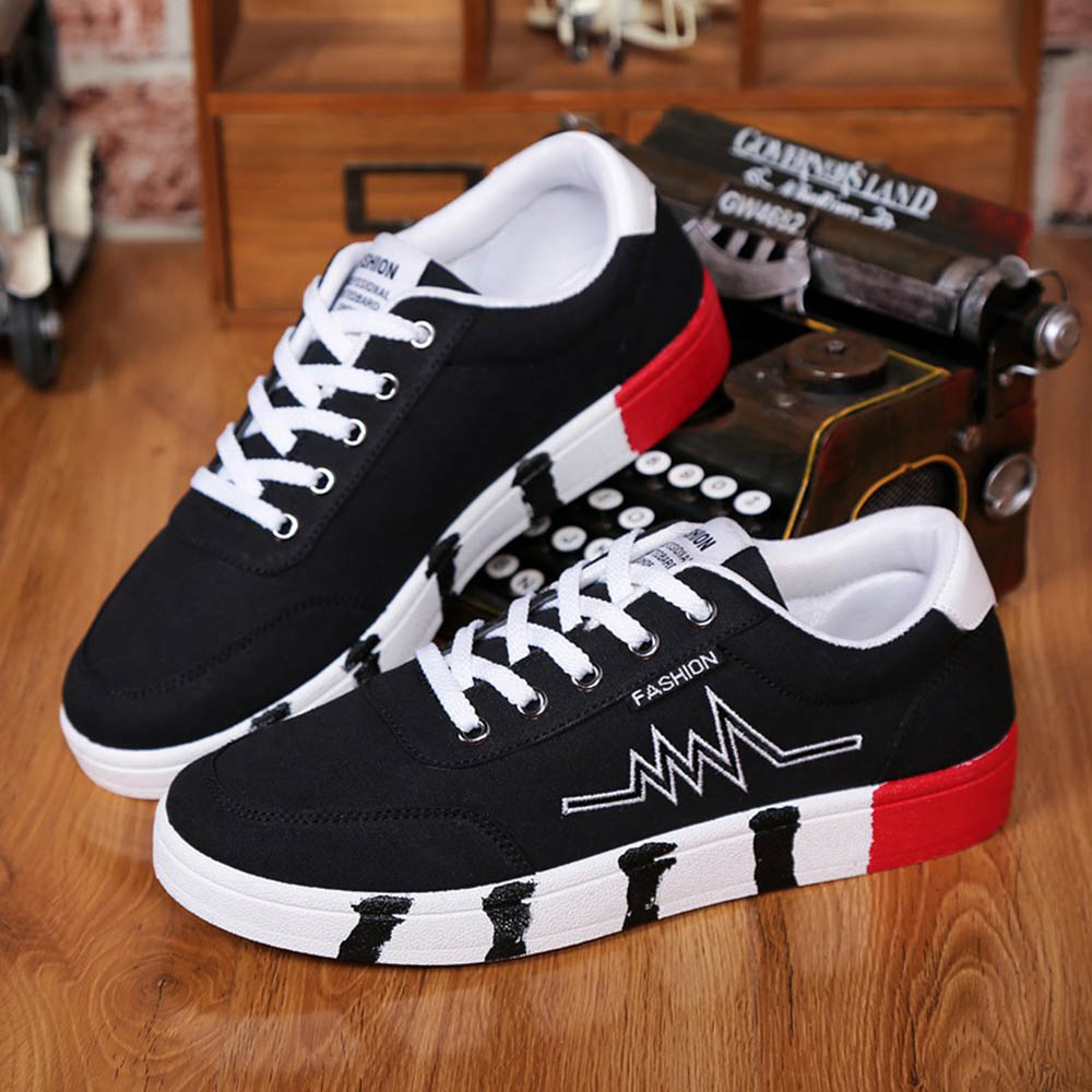 Mens Harajuku Low Canvas Shoes For Sports Spring Autumn Teens Running Sneakers Big Size 39-44 Male Lace-up Clothes Shoes Black