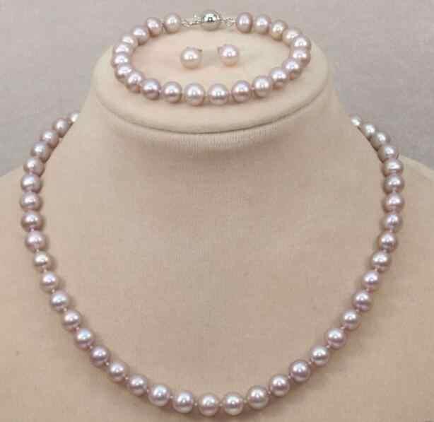 Schmuck Perle Set 9-10mm natürliche südsee rosa lila perle halskette armband ohrringe Freies Verschiffen