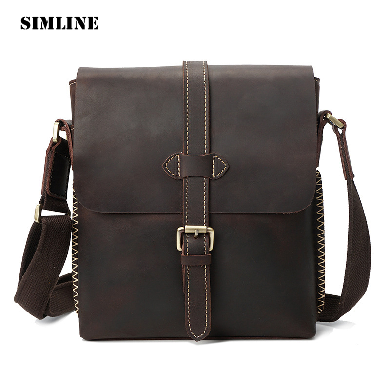 SIMLINE Vintage Casual Crazy Horse Genuine Cow Leather Men Messenger Bag Shoulder Crossbody Bag Bags Handbag Handbags For Male men watches top brand luxury 30m waterproof ultra thin date clock male steel strap casual quartz watch men sport wristwatch
