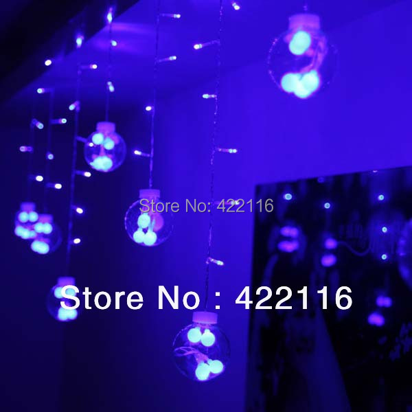 LED String Strip Festival Holiday Wedding Curtain Lights 110V / 220V AC 3m 120 SMDs 12 Glass Balls PARTY CHRISTMAS Decoration
