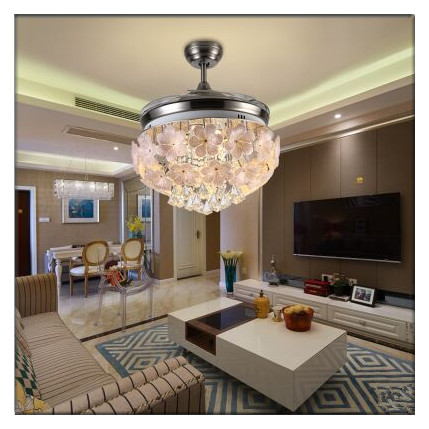 Modern European Elegant Crystal Glass Round Shaped LED Ceiling Fan Lights with Foldable Invisible Blades